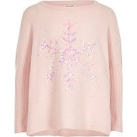 Girls pink sequin snowflake Christmas sweater