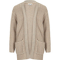 Girls cream chunky metallic knit cardigan