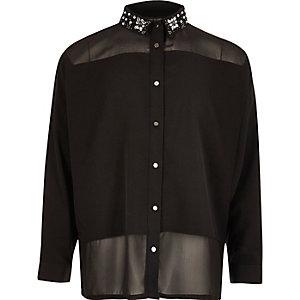 Girls black embellished collar blouse