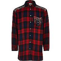 Girls red check embellished shirt