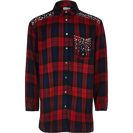 Girls red check embellished shirt