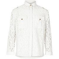 Girls white lace military shirt
