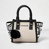 Girls black and white geo print tote bag