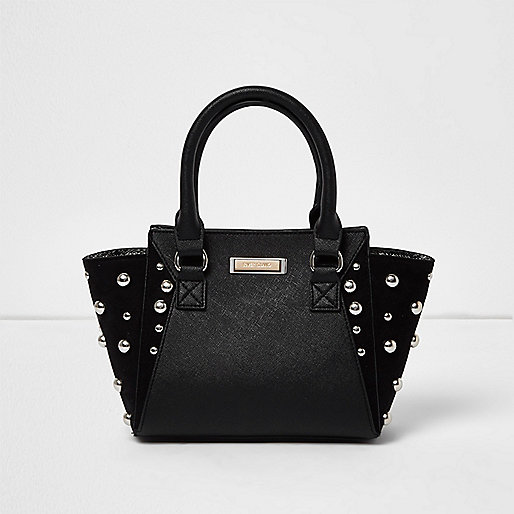 Girls black dome stud winged tote bag