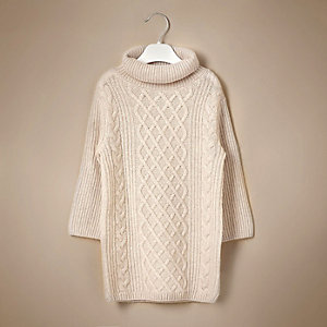 Mini girls cream knit cashmere sweater dress