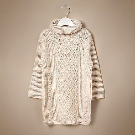 Mini girls cream knit cashmere jumper dress