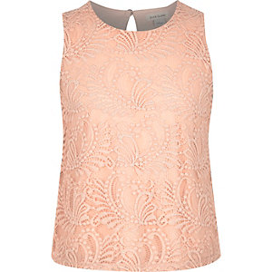 Girls light pink lace shell top