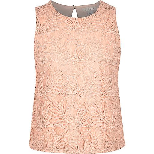 Girls light pink lace shell top