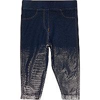 Mini girls dark denim metallic leggings