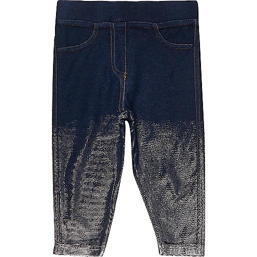 Legging aspect jean foncé métallisé mini fille