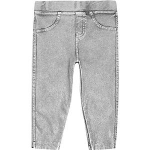 Legging effet jean gris mini fille