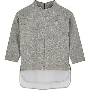 Mini girls grey layered high neck top
