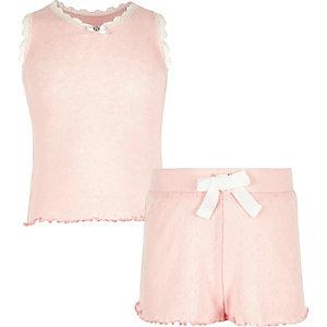Roze pyjamaset met ajour voor meisjes