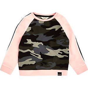 Mini girls pink camo print sweatshirt