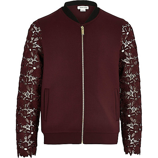 Girls burgundy lace sleeve bomber jacket
