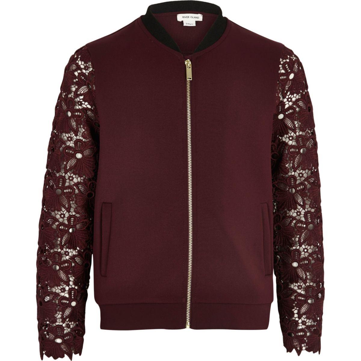 Girls burgundy lace sleeve bomber jacket