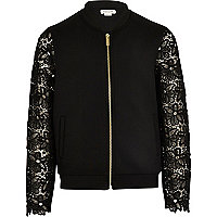 Girls black lace sleeve bomber jacket