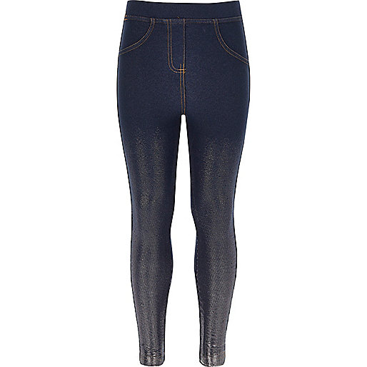 Girls blue denim metallic leggings