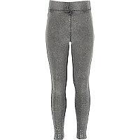 Girls grey denim metallic leggings