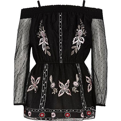 Girls black embroidered mesh bardot top