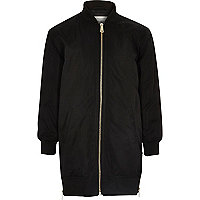 Girls black longline bomber jacket