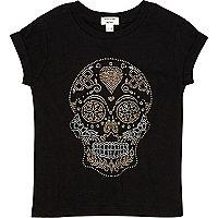 Mini girls black studded skull t-shirt