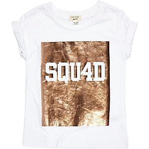 Mini girls white metallic print T-shirt