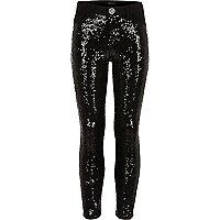 Girls black sequin skinny jeans