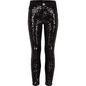 Girls black sequin skinny jeans