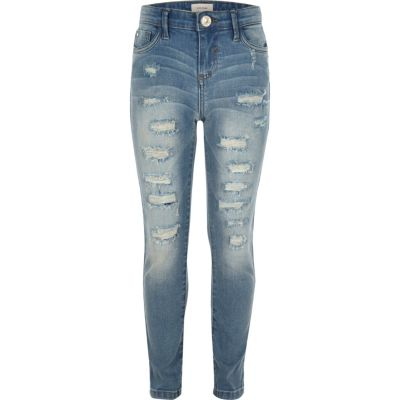 Amelie Blauwe ripped superskinny jeans voor meisjes