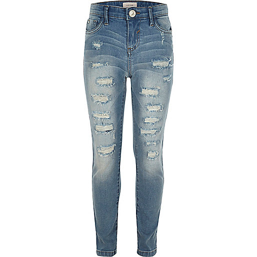 girls blue ripped amelie super skinny jeans skinny jeans