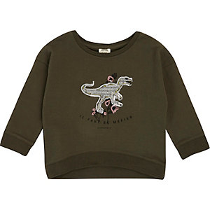 Mini girls green sequin dinosaur sweatshirt
