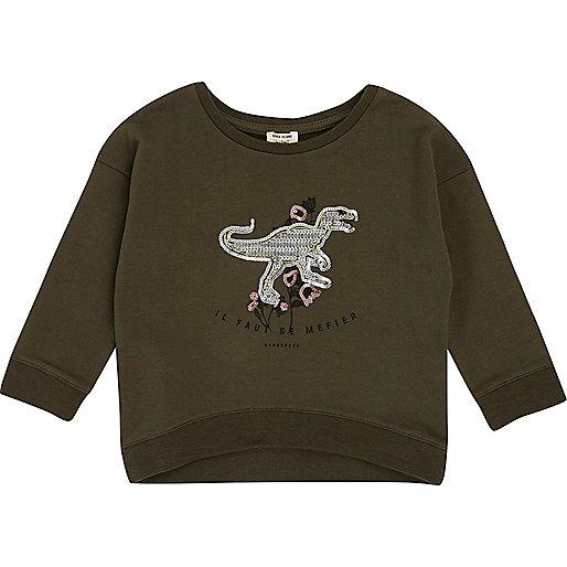 Mini girls green sequin dinosaur sweatshirt