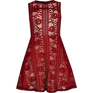 Girls red lace prom dress