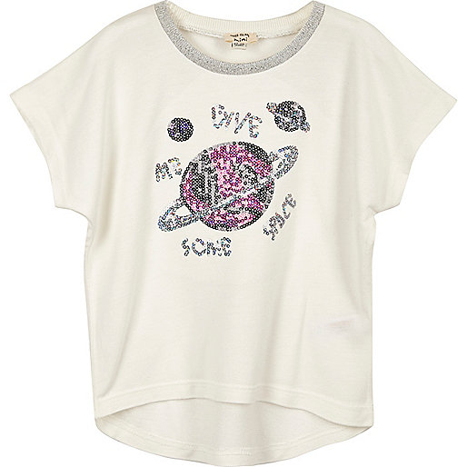 T-shirt blanc motif espace à sequins mini fille