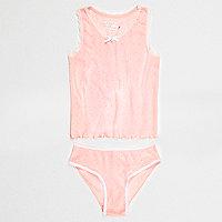 Girls pink pointelle vest and underwear