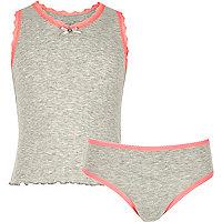 Pointelle-Trägerhemd und -Unterwäsche in Grau