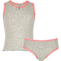 Girls grey pointelle tank and underwear