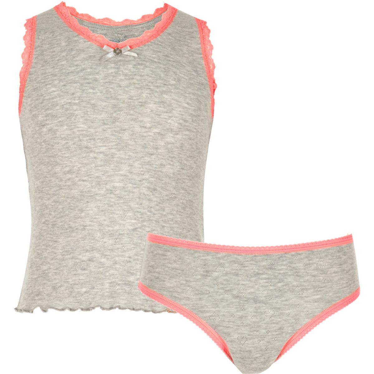Girls grey pointelle tank and underwear