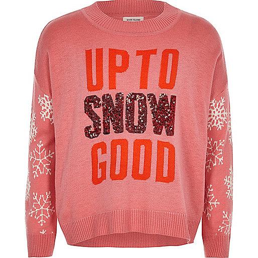 Girls pink knit sequin Christmas jumper