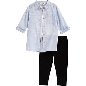 Mini girls light blue shirt leggings outfit