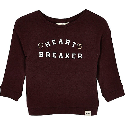 Mini girls burgundy print sweatshirt