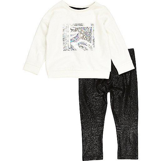 Mini girls metallic sweatshirt leggings set