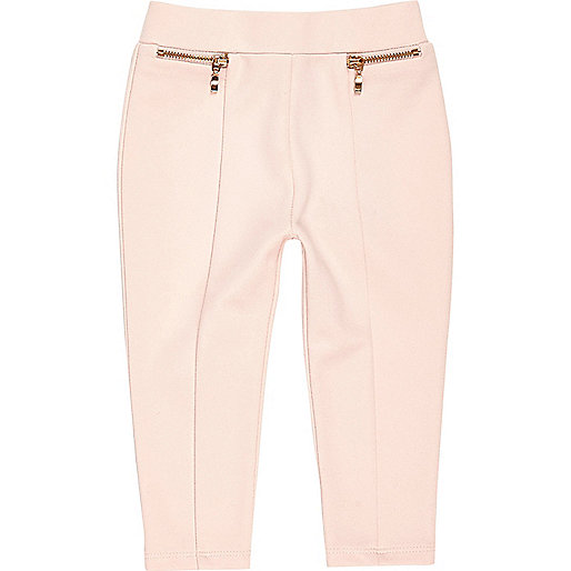Mini girls blush pink ponte leggings