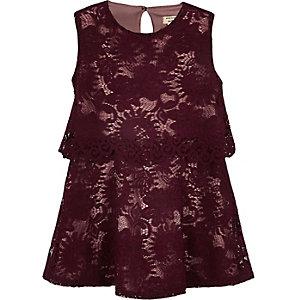 Rode gelaagde kanten jurk voor mini girls