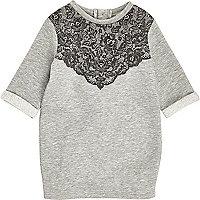 Mini girls grey lace jersey dress