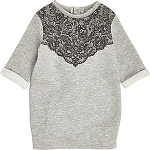 Mini girls grey lace jersey dress