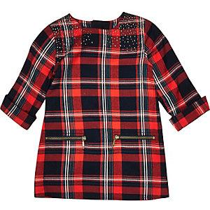 Mini girls red check zip dress