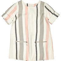 Mini girls pink and grey stripe shift dress
