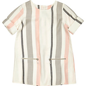 Mini girls pink and grey stripe shift dress